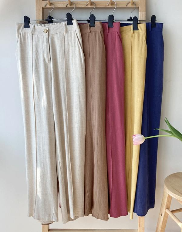 Pin tuck linen pants