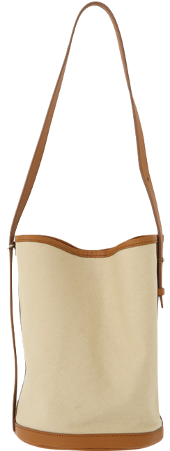 Cylinder leather strap canvas bag ショルダーバッグ