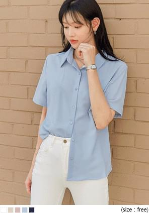 Pointed Collar Boxy Blouse