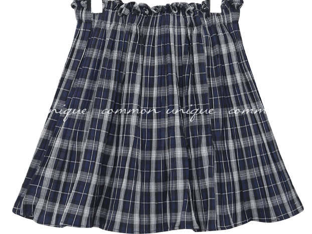 MAMA CHECK PLEATS MINI SKIRT