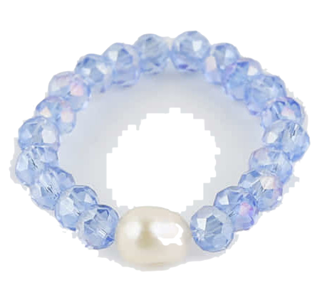 Bling pearl glass ring