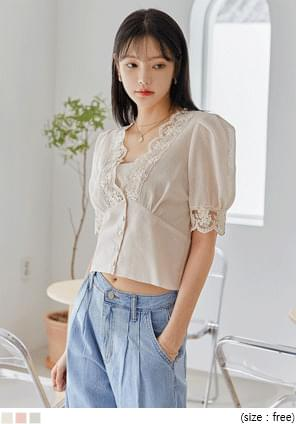 HONEY SEETHROUGH LACE 1/2 BLOUSE
