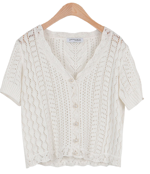 #Any place Austin V-neck pearl button cardigan