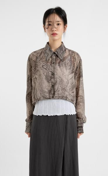 Marbling string cropped shirt
