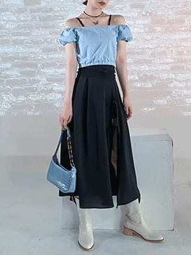 Ribbon slit long skirt