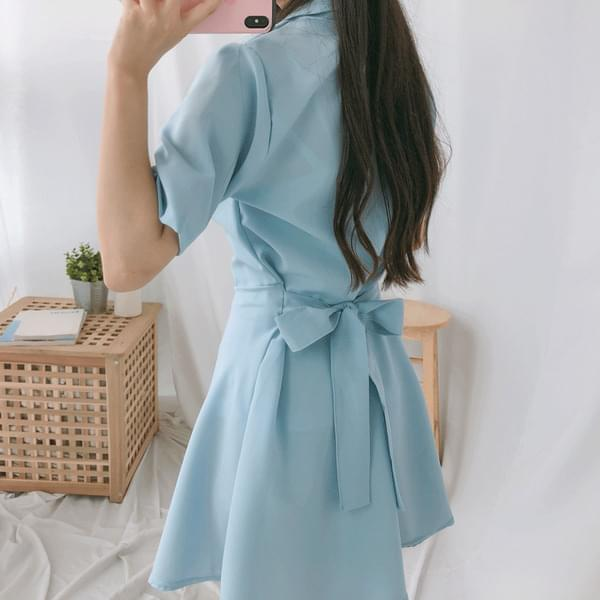 Ribbon flare short sleeve dress