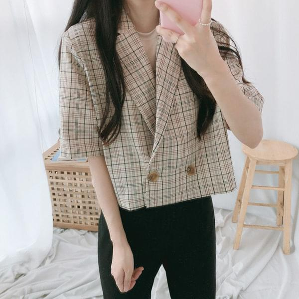 Macaron short-sleeved cropped jacket