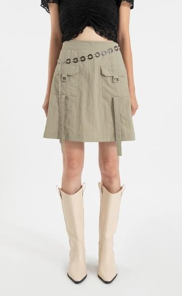 Two pocket buckle mini skirt