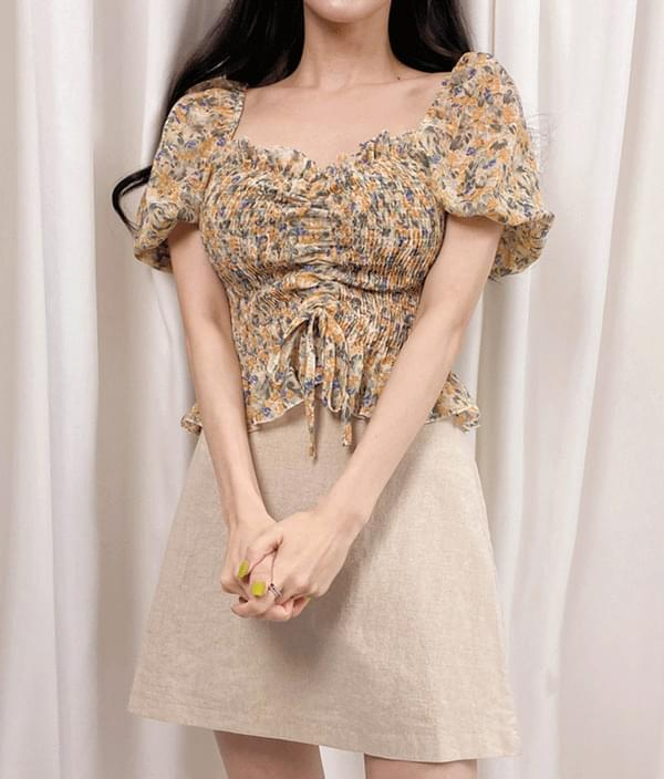Flower shirring blouse