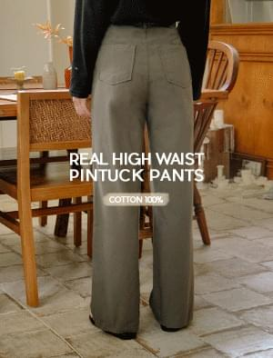 Real high waist pin tuck wide pants