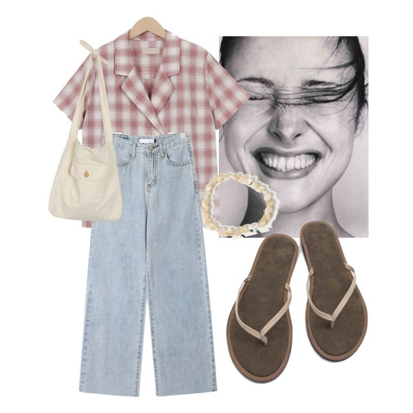 daily monday Wooden mood flip flops,From Beginning Some check double shirts_K (size : free),AIN wing straight denim pants (s, m, l)등을 매치한 코디