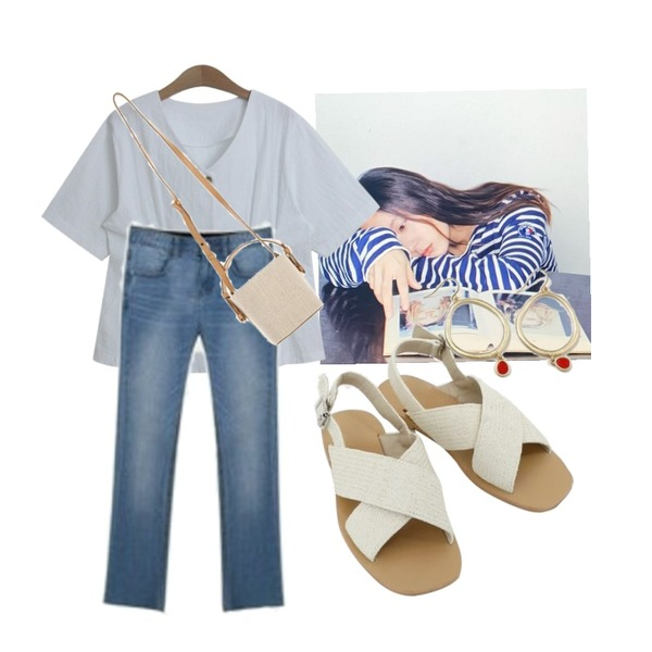 From Beginning Catcher drop circle earring_K (size : one),daily monday Natural cross strap sandals,ENVYLOOK 제로밴드일자데님등을 매치한 코디