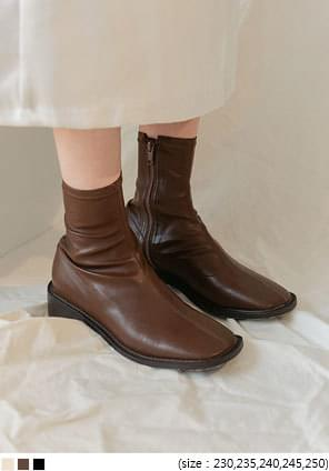 Side Zip Square Toe Ankle Boots