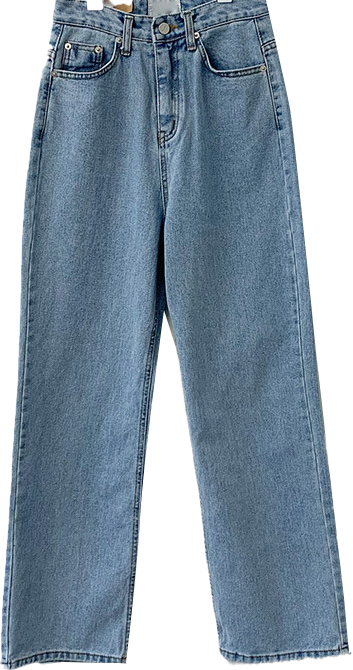 Wide style straight Light Blue long jeans