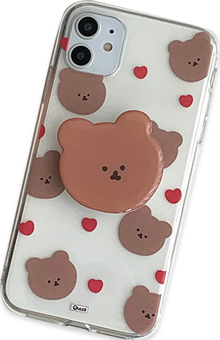 Round Bear Heart Pattern iPhone Case