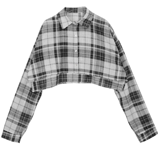 Check Rainey cropped shirt blouses