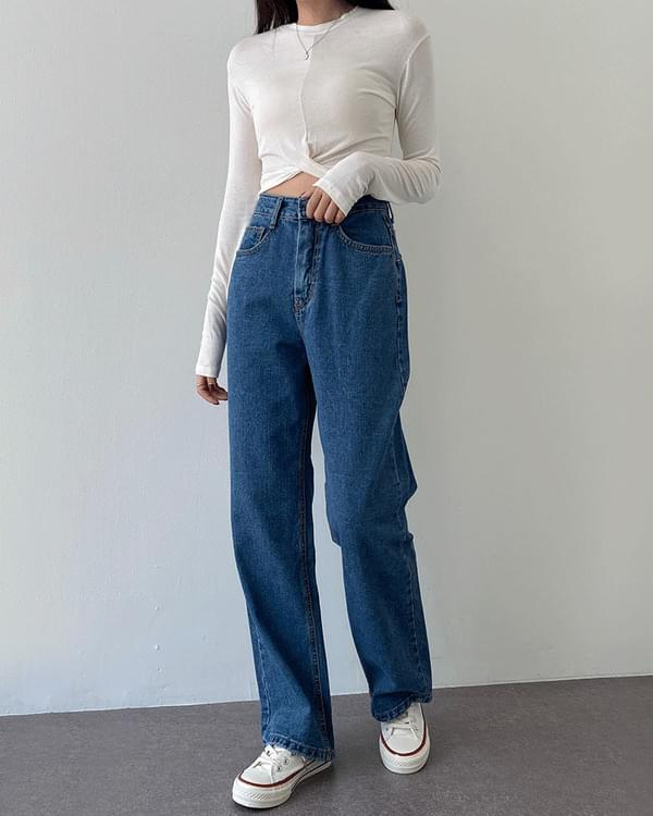 Five Date Wide Fit Denim Light Blue Jin Cheong Pants