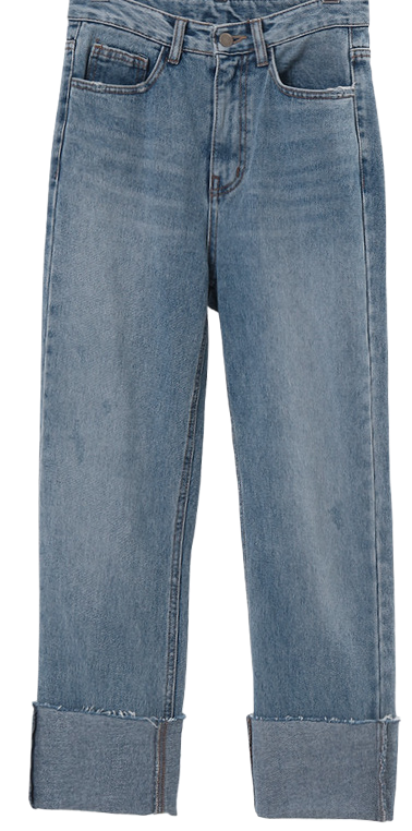 Cut roll-up dated denim pants