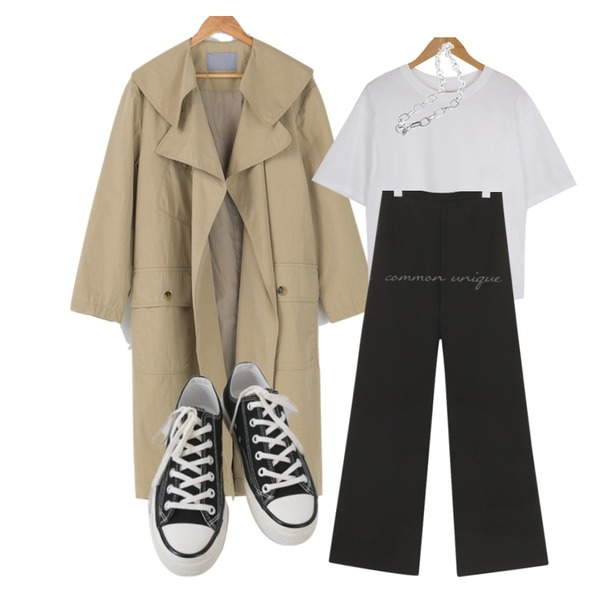 BANHARU 빅카라넥 루즈핏 트렌치코트,openthedoor bold mix chain necklace (2 color),AFTERMONDAY basic casual color sneakers (10colors)등을 매치한 코디