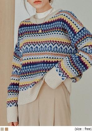 VINTAGE MIX COLOR PATTERN KNIT