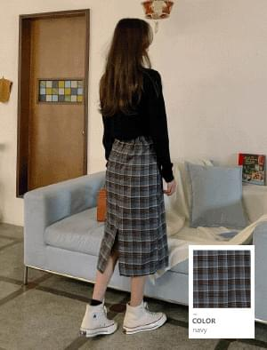 Classic Check Back Banding Long Skirt