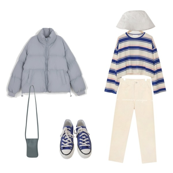 From Beginning Simple mini cross bag_A (size : one),AFTERMONDAY basic casual color sneakers (10colors),WONLOG 심플 숏 벙거지등을 매치한 코디