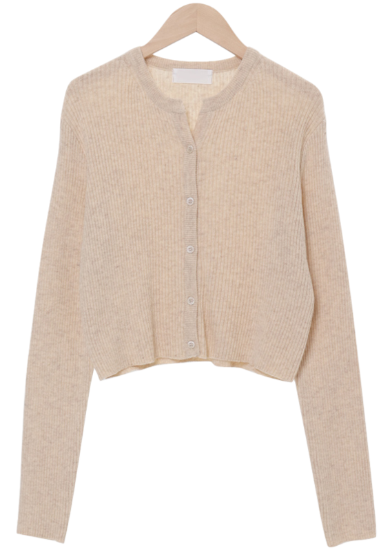 Cashmere ribbed cropped cardigan