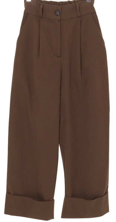 Wide Roll-up Pin Tuck Banding Slacks
