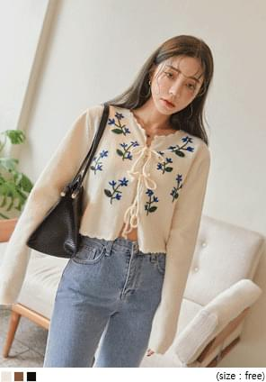 ELLON FLOWER NEEDLE CARDIGAN SET WITH CELEBRITY _ Lisa wear