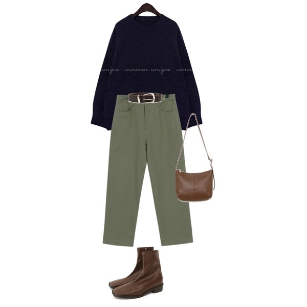 From Beginning Forest button boy pants_B (size : free),common unique DIVINE LAMBSWOOL 60% BOKASHI KNIT,openthedoor cow hide mannish belt (3 color)등을 매치한 코디