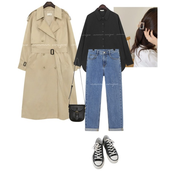 common unique ROLL UP SEMI BAGGY DENIM PANTS,AFTERMONDAY basic casual color sneakers (10colors),lavenir once hair pin등을 매치한 코디