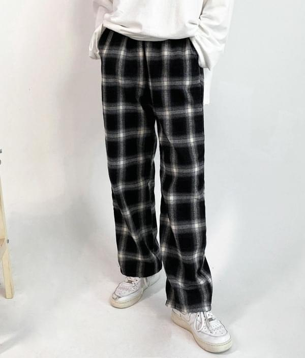 Comfortable check banding pants