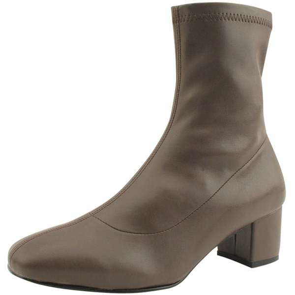 Square Toe Span Middle Heel Ankle Boots Brown