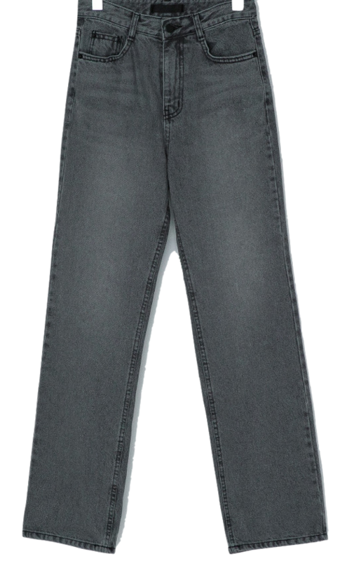 Vintage Washing Semi Wide Fit Gray Jeans