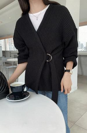 Strap belt wrap cardigan