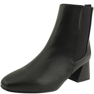 Full Heel Chelsea Ankle Boots Middle Heel Black 靴子