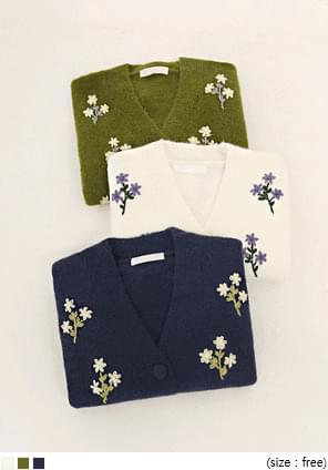 RINS WOOL FLOWER KNIT CARDIGAN