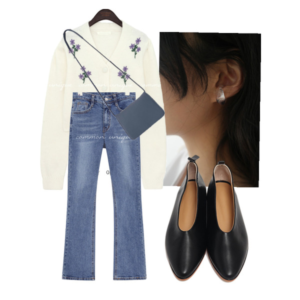 AFTERMONDAY formica hole earcuff (2colors),From Beginning Wall sharp flat shoes_C (size : 225,230,235,240,245,250),common unique PIN BANDING BOOTS DENIM PANTS등을 매치한 코디