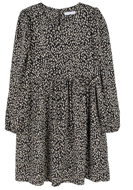 Basic leopard puff mini dress