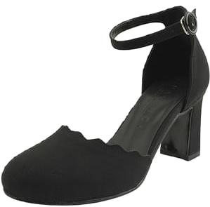 Strap side open high heels black
