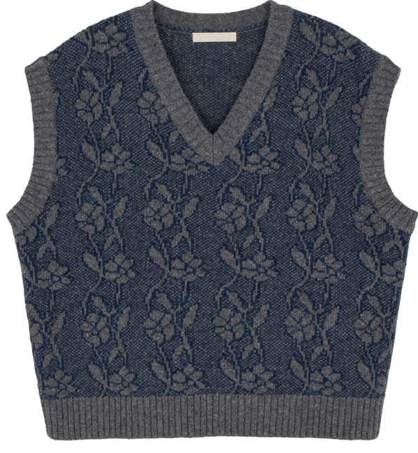 Flower pattern V-neck knit vest