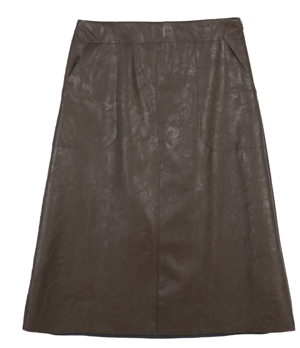 K-flare leather midi skirt