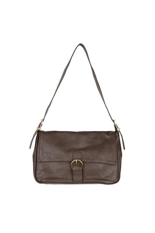 Deep merge soft buckle shoulder bag