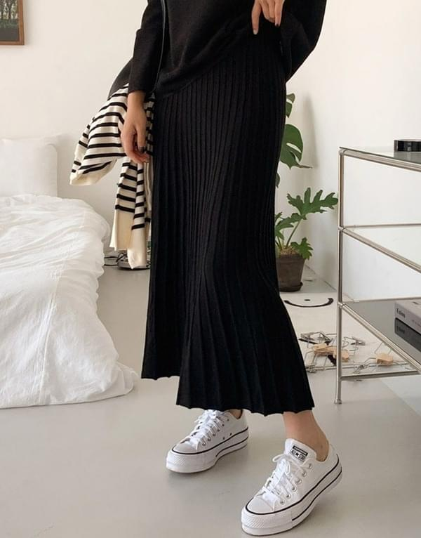 Folk pleats loose long knit skirt