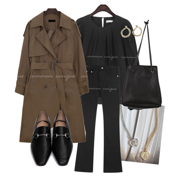 common unique MOHABI DOUBLE TRENCH COAT,From Beginning Silver buckle flat loafer_P (size : 225,230,235,240,245,250),WONLOG 심플 라운드 이어링등을 매치한 코디