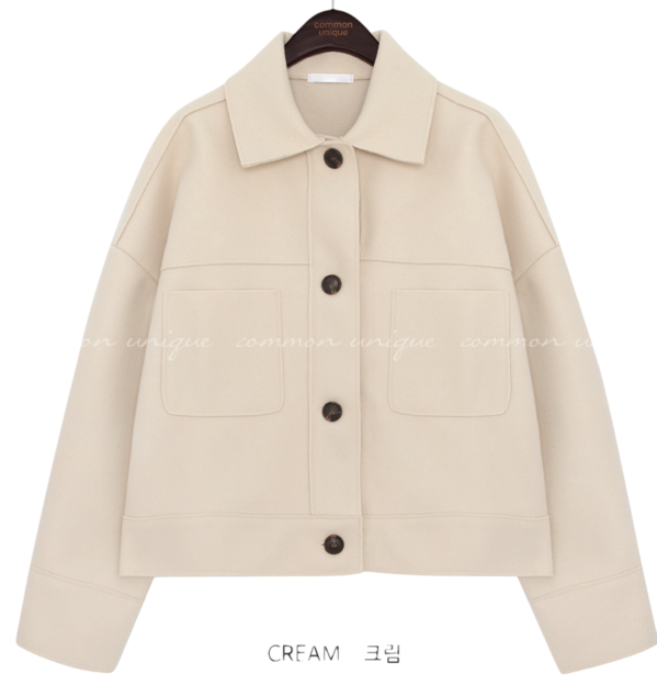 Button-Up Boxy Collared Jacket