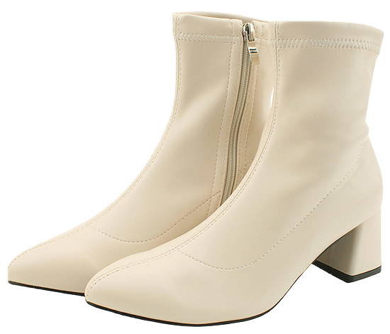 Stiletto Span Middle Heel Ankle Boots Beige 靴子