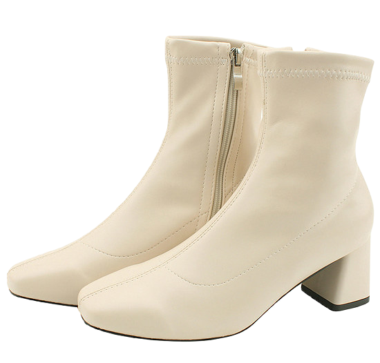 Square nose span middle heel ankle boots 6cm beige 靴子