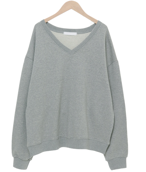 Cozy V-Neck Over Fit sweat shirt 長袖