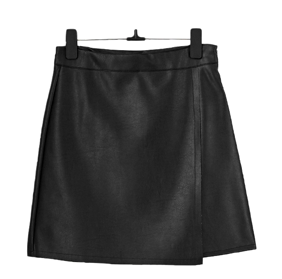 Leather diagonal unfooted skirt 裙子